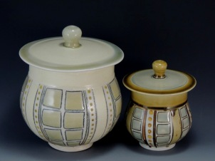 porcelain jars, soda fired