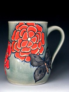 porcelain mug, with colored
