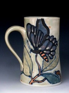 porcelain mug, with colored