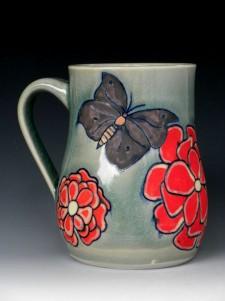 porcelain mug, with colored slips