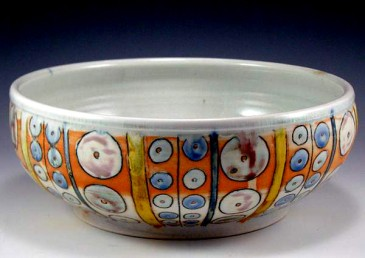 Porcelain bowl, reduction fired, with underglaze pen and glaze