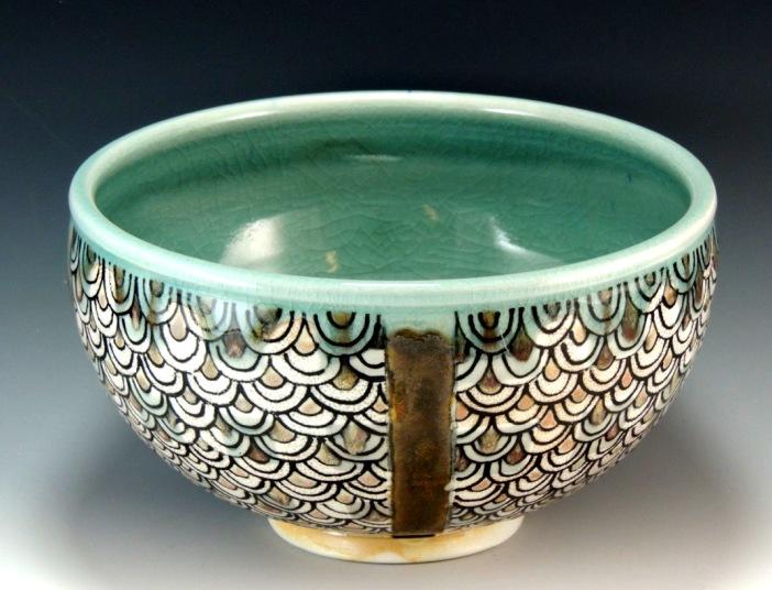 Porcelain bowl, soda fired, with underglaze and glaze