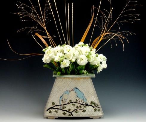 bird vase, soda fired