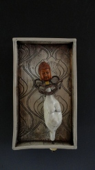 """Lady"" Soda fired clay, copper pmc, found object, 6""x4""x1.5"""
