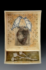 """Birds of the Heart"", soda fired clay, 7.5""x11""x2"""