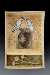 """Birds of the Heart"", soda fired clay, 7.5""x11""x2"""