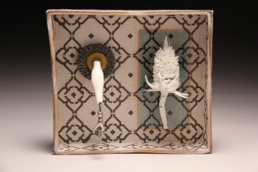 """""""Hand and Thistle"""", soda fired clay, slip, found object, 6.5""""x6""""x 2"""""""